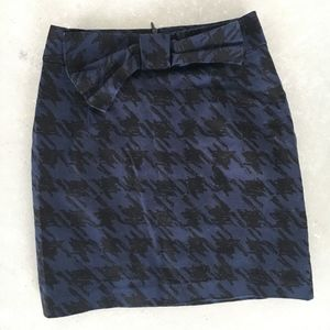 Forever 21 Blue & Black Houndstooth Pencil Skirt